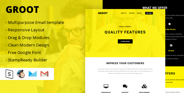 Groot Multipurpose Email Template – Email Templates Marketing TFx Wilson Cayden