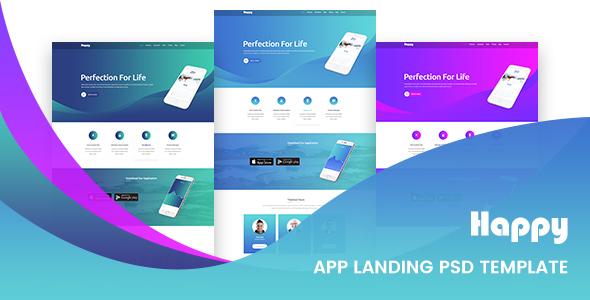 Happy App Landing Page PSD Template - Creative PSD Templates TFx Brett Sevan