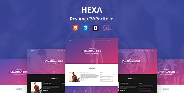 Hexa - Personal Resume/CV/Portfolio HTML Template - Virtual Business Card Personal TFx Benji Ratna