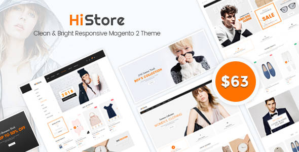 HiStore - Clean and Bright Responsive Magento 2 Theme - Magento eCommerce TFx Kimball Tarou