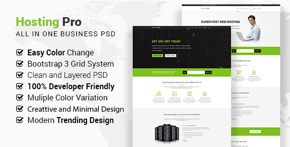 Hosting Pro – Business Website PSD Template – Hosting Technology TFx Crawford Silver