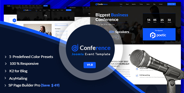 JD Conference – Advanced One Page Joomla Event Template – Events Entertainment TFx Terrance Clement