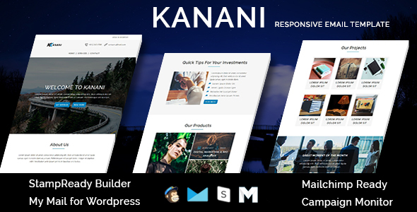 KANANI – Multipurpose Responsive Email Templates with Stamp Ready Builder Access – Newsletters Email Templates TFx Rastus Aloysius