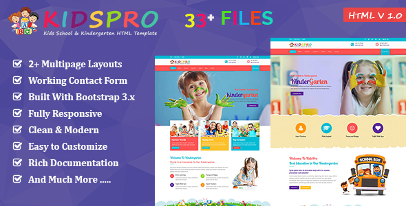 KidsPro | Education & Courses HTML5 Template – Children Retail TFx Andy Woody