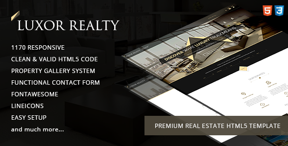 Luxor Realty - Responsive HTML5 Real Estate Template - Business Corporate TFx Chip Jiro