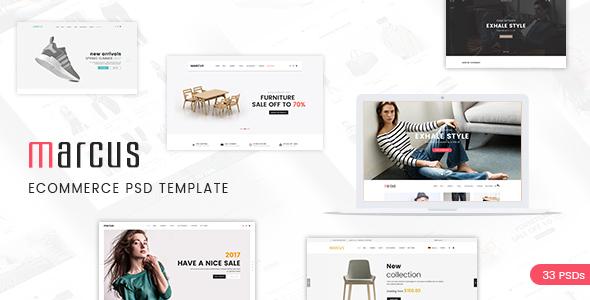 Marcus - Multipurpose eCommerce PSD Template - Retail PSD Templates TFx Damion Abdullah