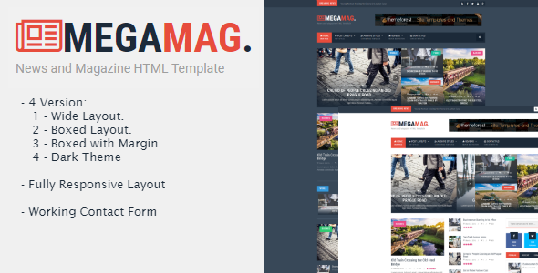 Megamag - News and Magazine HTML Template - Entertainment Site Templates TFx Kolby Tyler