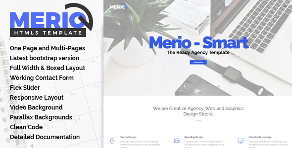 Merio - Creative Smart Agency One Page HTML5 Template - Creative Site Templates TFx Josephus Alec