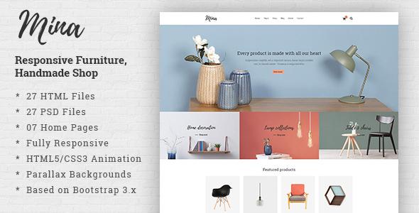 Mina - Responsive Furniture, Handmade Shop & Blog HTML5 Template - Shopping Retail TFx Montana Stanley