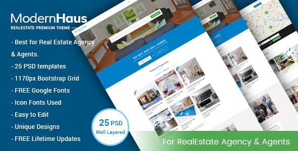 ModernHaus - Real Estate PSD Template - Business Corporate TFx Burt Len