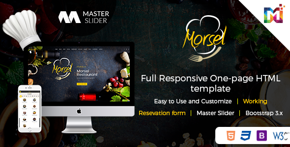 Morsel - Restaurant Lounge Cafe HTML5 Responsive Template - Restaurants & Cafes Entertainment TFx Sebastian Gordon