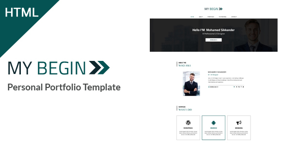 My Begin - Personal Portfolio HTML Template - Personal Site Templates TFx Oz Jamie