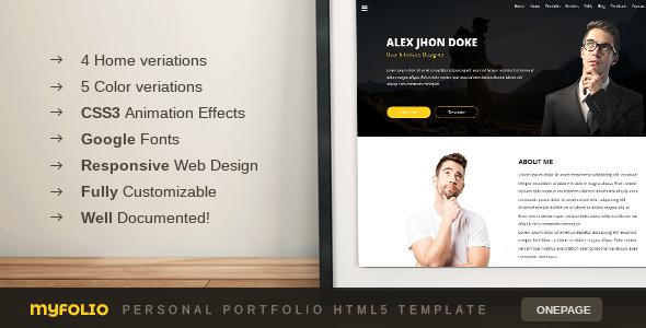 Myfolio - Onepage Personal Portfolio HTML5 Template - Portfolio Creative TFx Murphy Tennyson