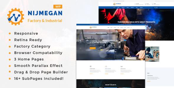 Nijmegan - Factory, Engineering Company, Industrial Business WordPress Theme - Business Corporate TFx Irwin Ellery