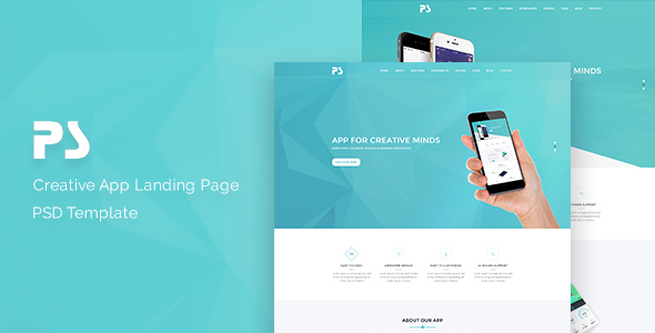 PS-App Landing Page PSD Template. - Technology PSD Templates TFx Gosse Wiley