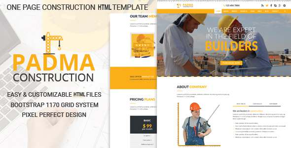 Padma - One Page Construction HTML5 Template - Business Corporate TFx Wright Lemoine