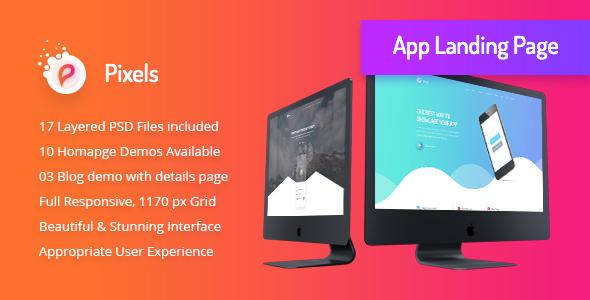 Pixels - Creative App Landing HTML5 Template - Creative PSD Templates TFx Dean Foster