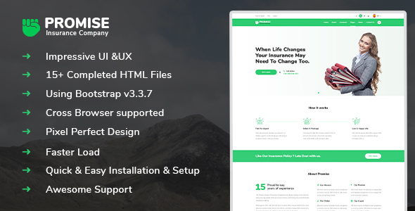 Promise – Insurance and Agency HTML5 template – Business Corporate TFx Mason Montana