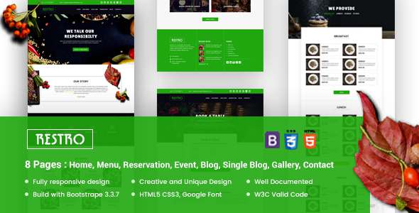 RESTRO – Responsive Cafe & Restaurant Template – Restaurants & Cafes Entertainment TFx Walton Morton