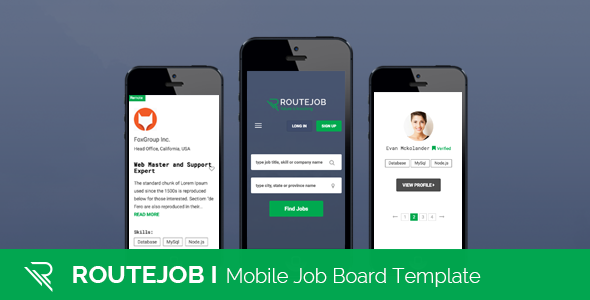 ROUTEJOB | Mobile Job Board Template – Mobile Site Templates TFx Algar Garrick