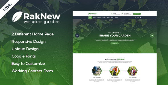 RakNew - Gardening and Landscaping HTML Template - Business Corporate TFx Seymour Keegan