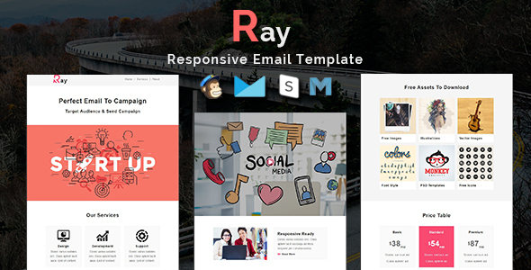 Ray - Multipurpose Responsive Email Template With Stamp Ready Builder Access - Newsletters Email Templates TFx Hyram Arlie