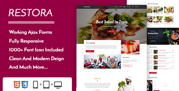 Restora – Restaurant Cafe & Bistro Template – Restaurants & Cafes Entertainment TFx Kris Walter