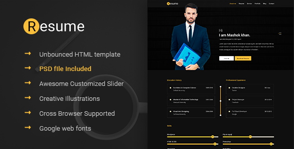 Resume -  Resume, CV &amp, vCard & Unbounced HTML Template - Resume / CV Specialty Pages TFx Darien Mack