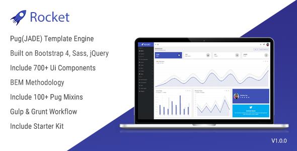 Rocket - Bootstrap 4 Admin Template + Pug(JADE) Template Engine + BEM - Admin Templates Site Templates TFx Kyo Kermit