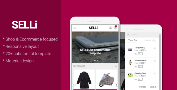 SELLi - E-Commerce/Shop Mobile Template - Mobile Site Templates TFx Khajag Drake