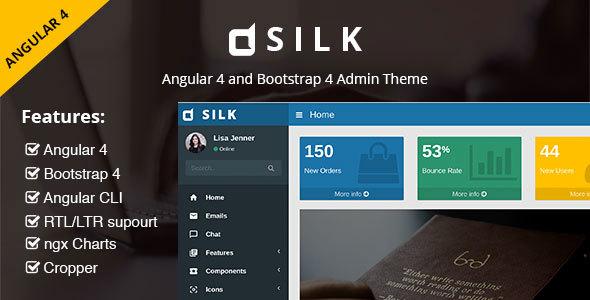 SILK - Angular 4 with Bootstrap 4 and Material Design Admin Template - Admin Templates Site Templates TFx Sachie Kohaku
