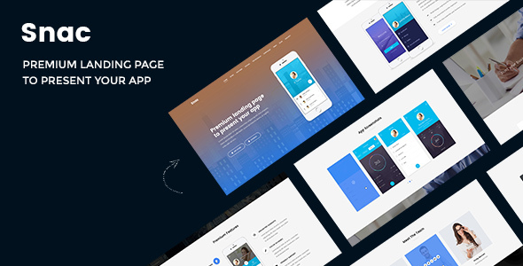Snac - Premium Responsive App Landing Page PSD Template - Software Technology TFx Marty Des