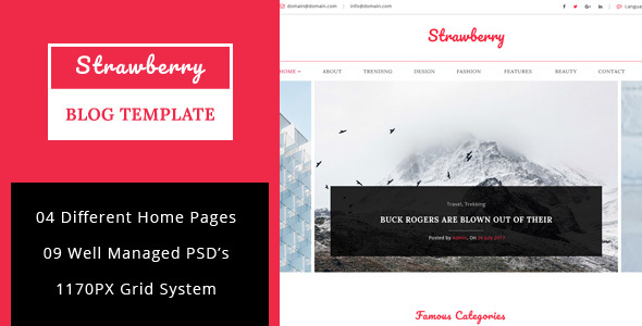 Strawberry - Minimal Blog PSD Template - Personal PSD Templates TFx August Jarvis