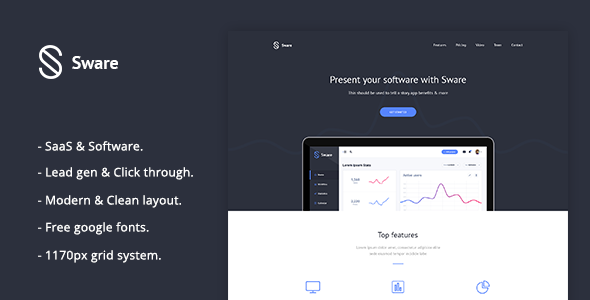 Sware - SaaS & Software Landing PSD Template - Software Technology TFx Gus Budi