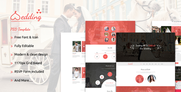 The Wedding - Bootstrap Responsive PSD Template - Events Entertainment TFx Oral Geffrey