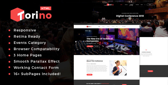 Torino : HTML Template for Conference and Event - Events Entertainment TFx Itsuki Gorden