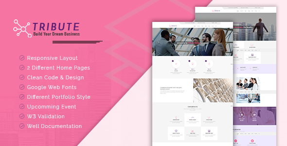 Tribute - Multipurpose HTML5 Template - Corporate Site Templates TFx Radcliff Terrance