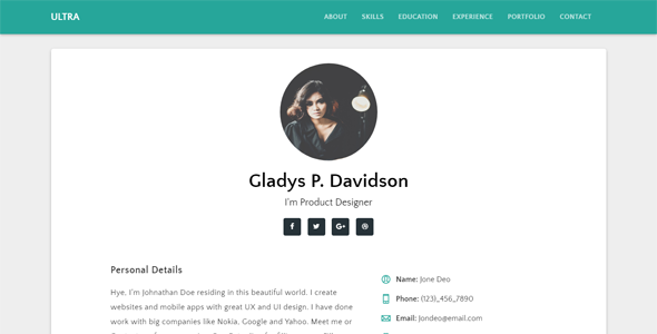 Ultra - Responsive Resume & CV Template - Resume / CV Specialty Pages TFx Coy Jaron