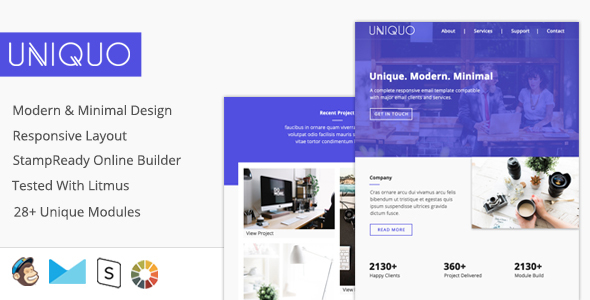 Uniquo - Multipurpose Responsive Email Design For Startups And Marketers + Online Builder - Email Templates Marketing TFx Jared Raja