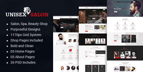 Unisex Salon | Barber Shop Hair Spa and Beauty Salon HTML Template - Corporate Site Templates TFx Edison Stuart