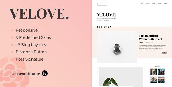 Velove - A Fresh WordPress Blog Theme - Personal Blog / Magazine TFx Edwyn Rain