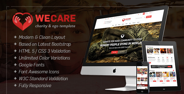 We Care - Charity, Nonprofit HTML Site Template - Nonprofit Site Templates TFx Tanner Talon
