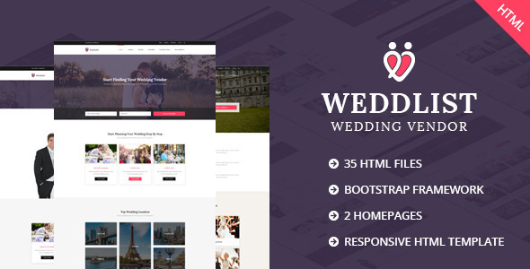Weddlist – Wedding Vendor Directory HTML Template – Wedding Site Templates TFx Gayelord Merrill