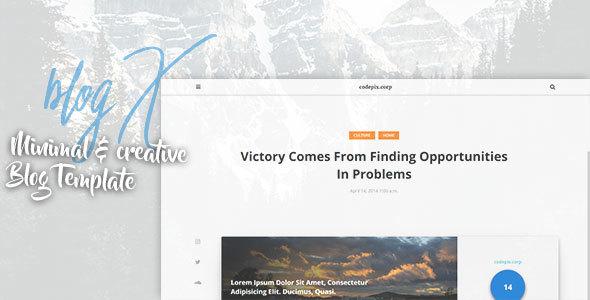 blogX - Minimal & Creative Blog Template - Personal Site Templates TFx Chance Zavier