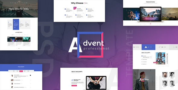 ADVENT - Event Management PSD Template - Events Entertainment TFx Darryl Carlisle