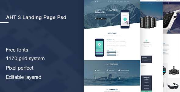 AHT 3 Landingpage PSD Template - Technology PSD Templates TFx Chauncey Kaito
