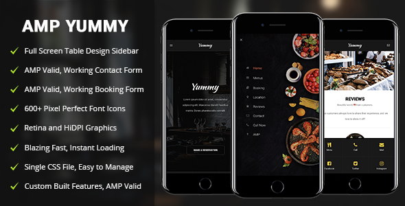 AMP Yummy | Mobile Google AMP Template - Mobile Site Templates TFx Abram Marcus