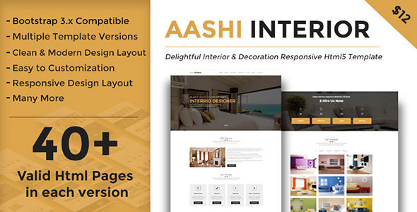 Aashi Interior - Responsive HTML Template for Interior Design and Decoration - Business Corporate TFx Baldwin Wes