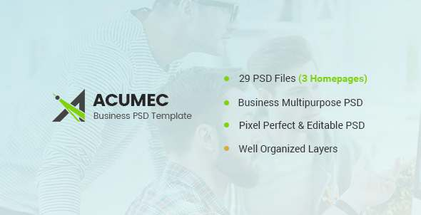 Acumec - Business Multipurpose PSD Template - Corporate PSD Templates TFx Gordian Gregory