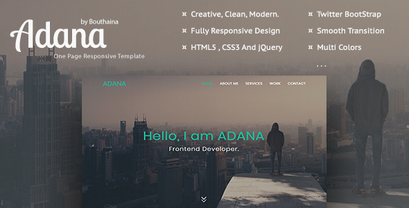 Adana - One Page Responsive Template - Personal Site Templates TFx Jamison James